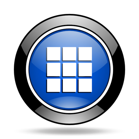 thumbnails grid blue glossy icon Stock Photo