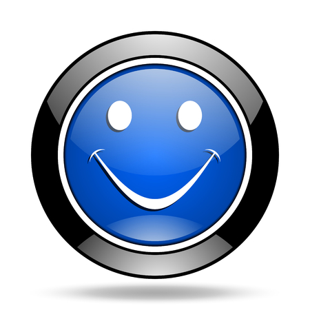 glossy icon: smile blue glossy icon