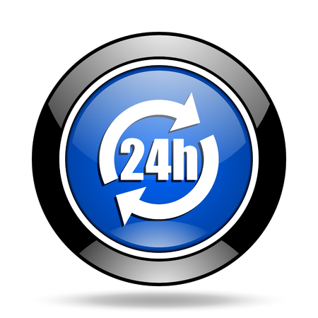 24h: 24h blue glossy icon