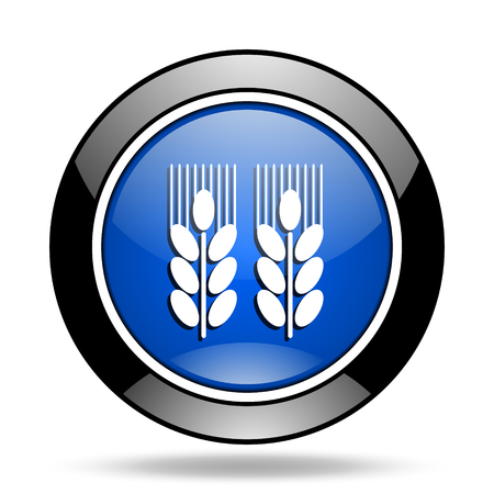 glossy icon: agricultural blue glossy icon Stock Photo