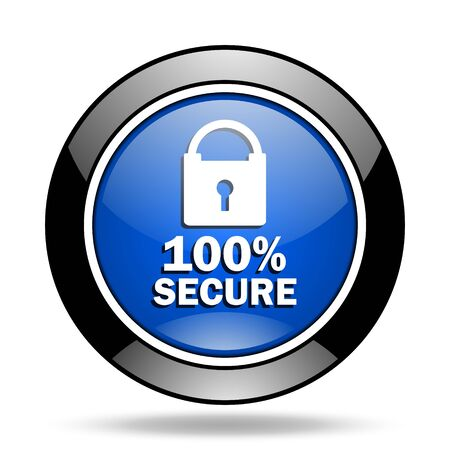 secure: secure blue glossy icon