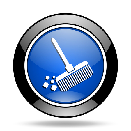 glossy icon: broom blue glossy icon Stock Photo