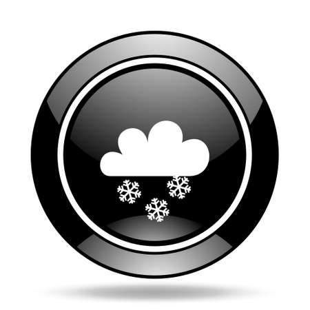 snowing: snowing black glossy icon Stock Photo