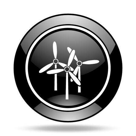 original ecological: windmill black glossy icon