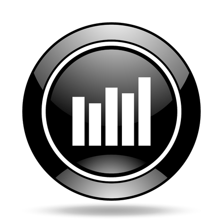 glossy icon: graph black glossy icon Stock Photo