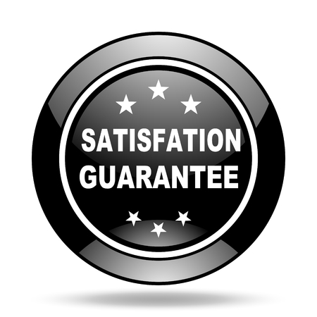 satisfaction guarantee: satisfaction guarantee black glossy icon