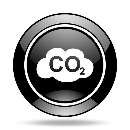 dioxido de carbono: el dióxido de carbono negro brillante icono Foto de archivo