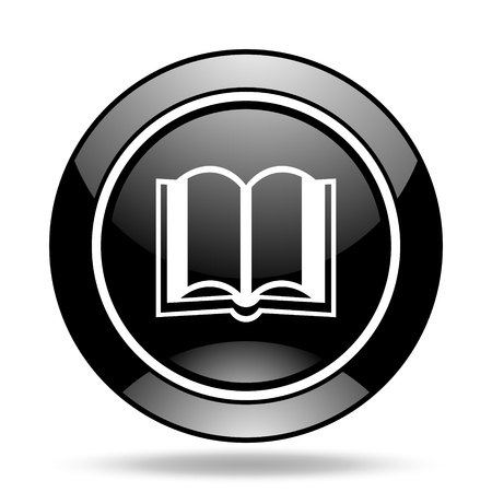 glossy icon: book black glossy icon Stock Photo