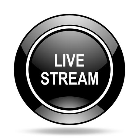 livestream: live stream black glossy icon