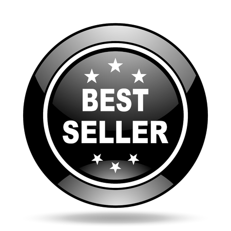 seller: best seller black glossy icon Stock Photo