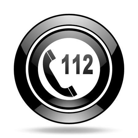 emergency call: emergency call black glossy icon Stock Photo