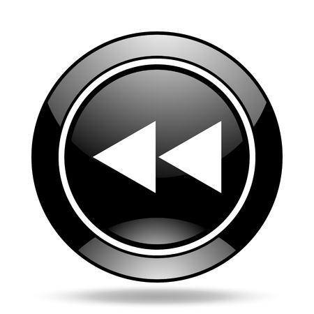 rewind: rewind black glossy icon