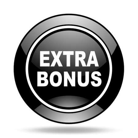 discounting: extra bonus black glossy icon Stock Photo