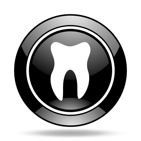 glossy icon: tooth black glossy icon Stock Photo
