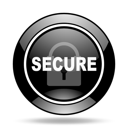 secure: secure black glossy icon Stock Photo