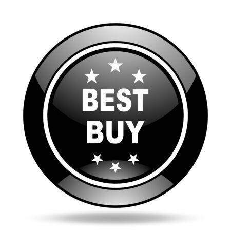 best buy: best buy black glossy icon Stock Photo
