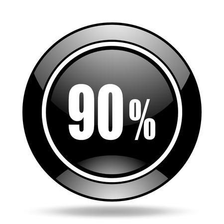 90: 90 percent black glossy icon Stock Photo