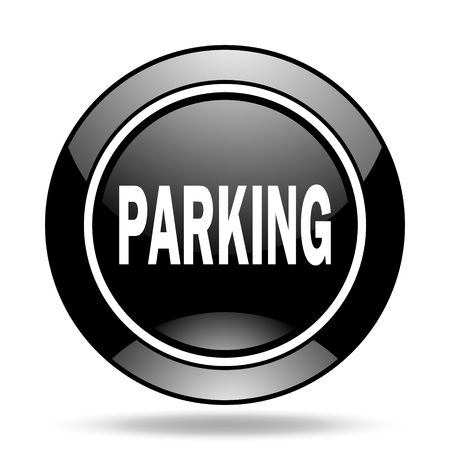 glossy icon: parking black glossy icon Stock Photo