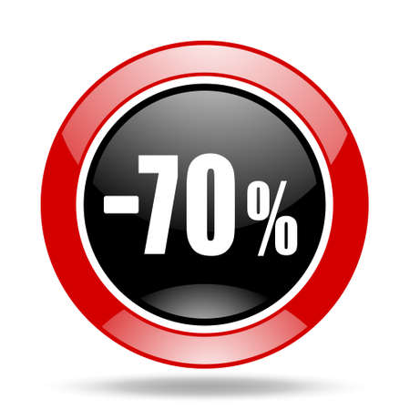 70 percent sale retail round glossy red and black web icon Stock Photo