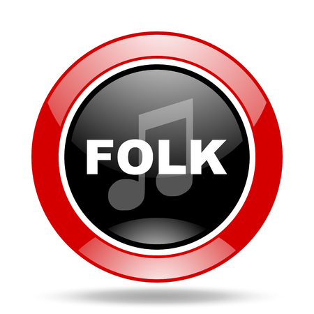 genre: folk music round glossy red and black web icon Stock Photo