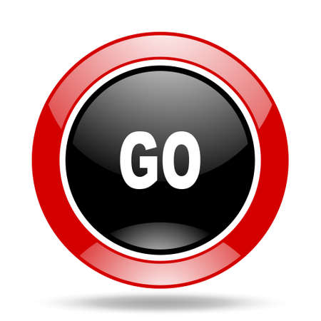 proceed: go round glossy red and black web icon Stock Photo