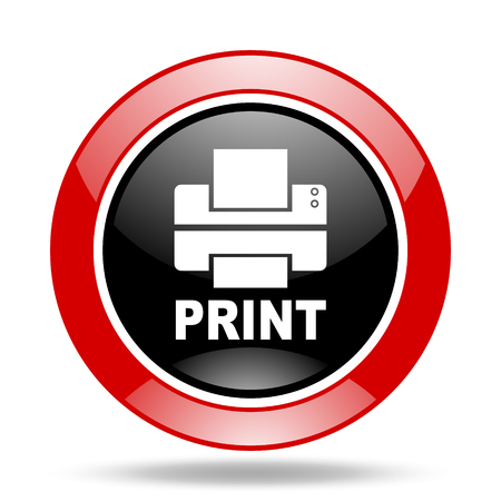 printer round glossy red and black web icon Stock Photo