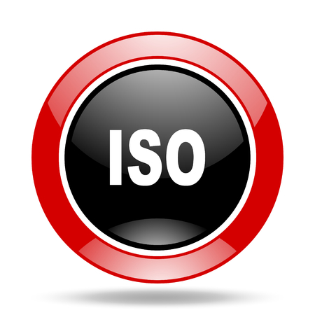 norm: iso round glossy red and black web icon