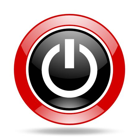 proceed: power round glossy red and black web icon Stock Photo