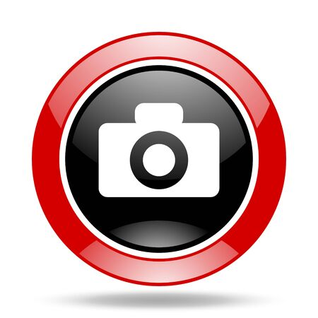 picto: camera round glossy red and black web icon Stock Photo