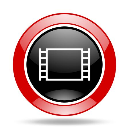watch movement: movie round glossy red and black web icon