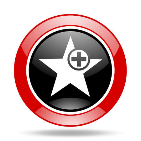 star round glossy red and black web icon