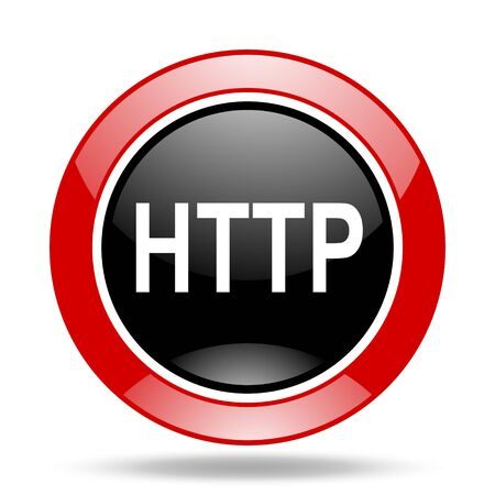 http: http round glossy red and black web icon
