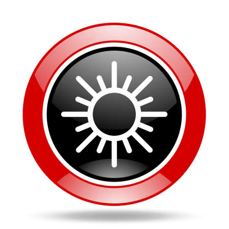 meteorology: sun round glossy red and black web icon