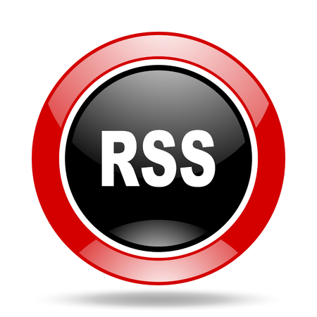 rss round glossy red and black web icon Stock Photo