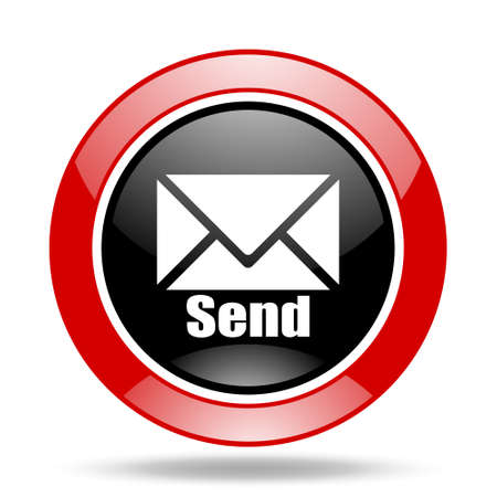 send round glossy red and black web icon Stock Photo