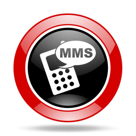mms: mms round glossy red and black web icon Stock Photo