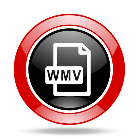 wmv: wmv file round glossy red and black web icon