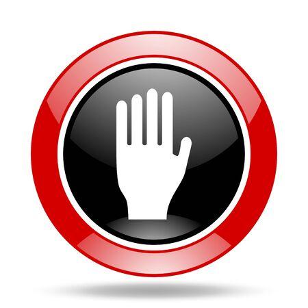 interdiction: arrêtez-vous autour de l'icône web rouge et noir brillant
