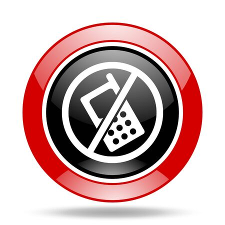 no cell phone: no phone round glossy red and black web icon