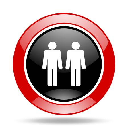 couple round glossy red and black web icon