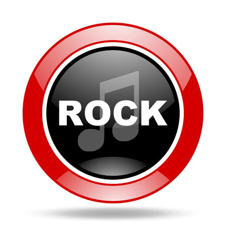 live stream sign: rock music round glossy red and black web icon
