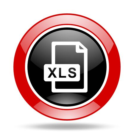 xls: xls file round glossy red and black web icon
