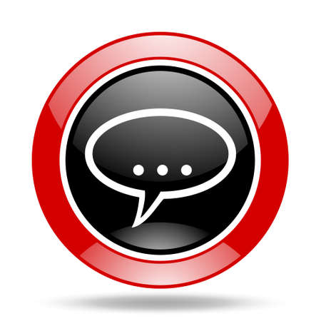 contacting: forum round glossy red and black web icon Stock Photo