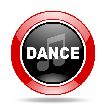 dance music round glossy red and black web icon Stock Photo
