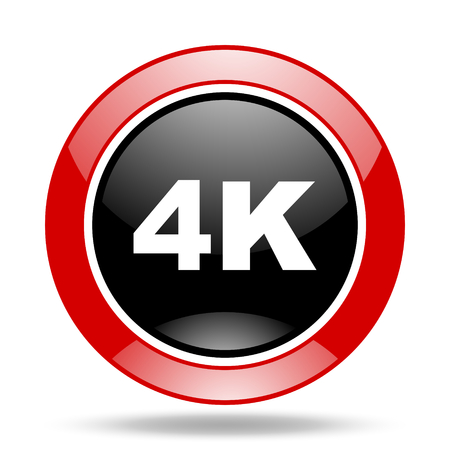 hdtv: 4k round glossy red and black web icon