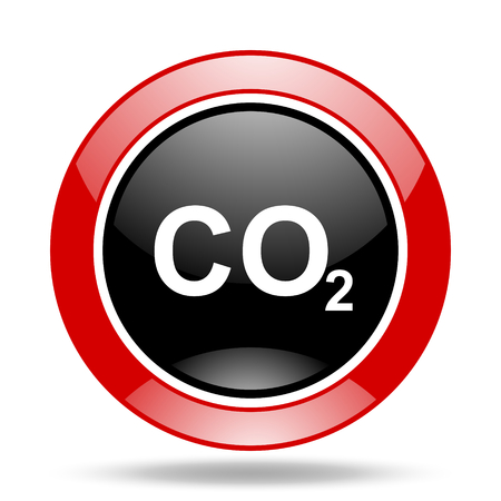 dioxido de carbono: el dióxido de carbono ronda icono de web brillante de color rojo y negro