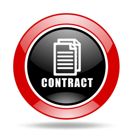contraction: contract round glossy red and black web icon