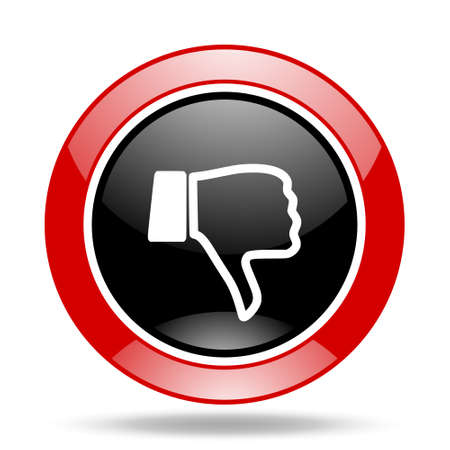 dislike round glossy red and black web icon Reklamní fotografie