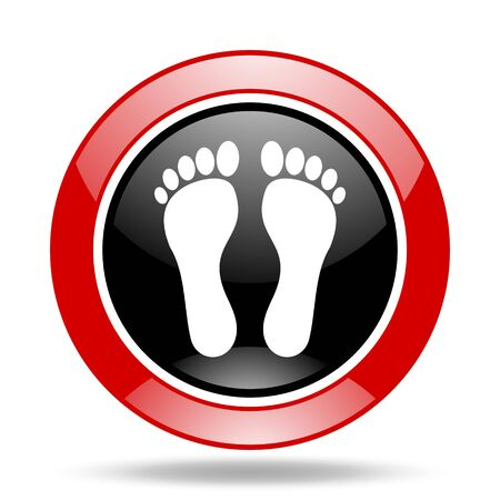 foot round glossy red and black web icon Stock Photo