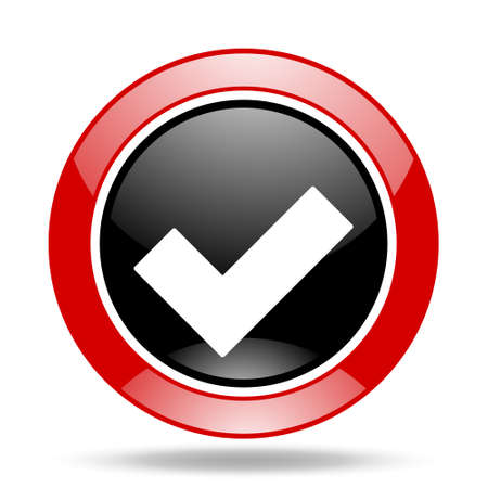 to accept: accept round glossy red and black web icon Stock Photo